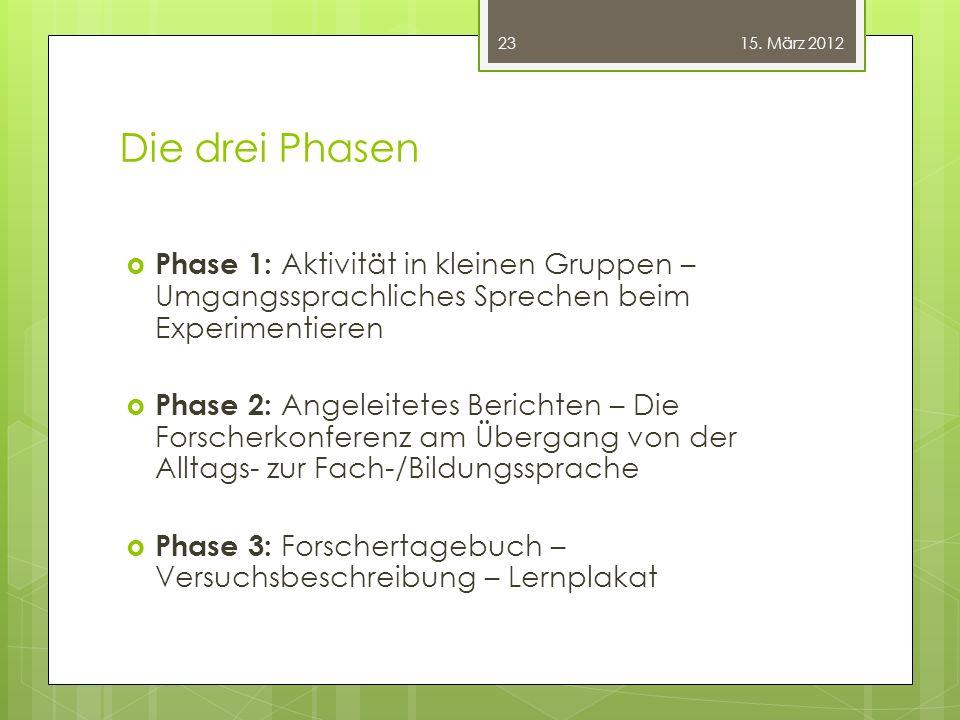 Die drei Phasen  Phase 1: Aktivität in kleinen Gruppen – Umgangssprachliches Sprechen beim Experimentieren  Phase 2: Angeleitetes Berichten – Die Fo