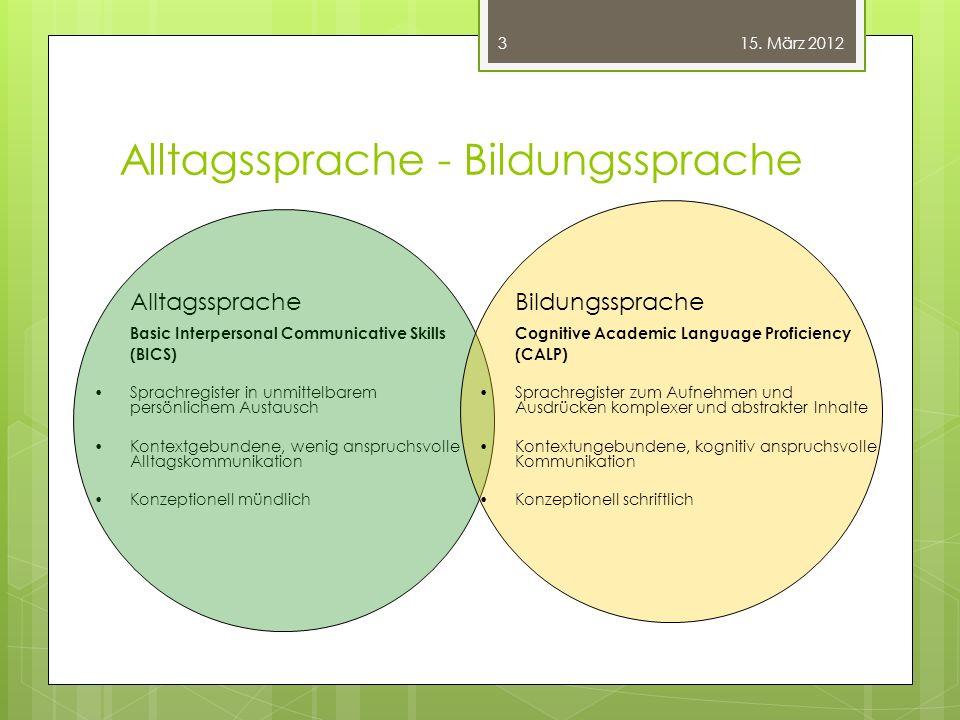 Alltagssprache - Bildungssprache Alltagssprache Basic Interpersonal Communicative Skills (BICS) Sprachregister in unmittelbarem persönlichem Austausch