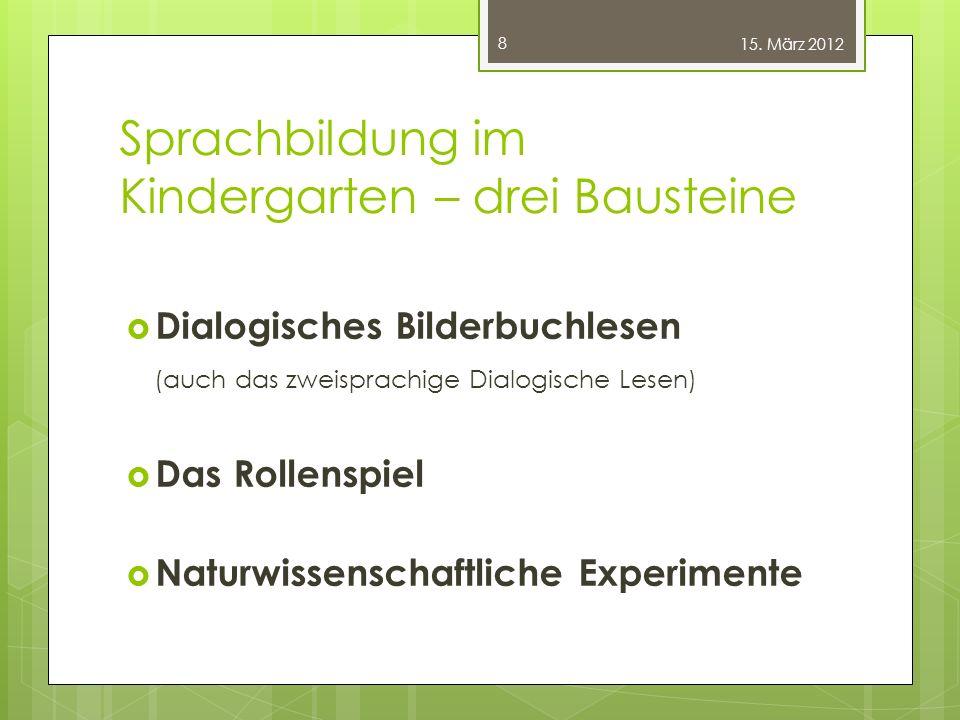 Sprachbildung im Kindergarten – drei Bausteine  Dialogisches Bilderbuchlesen (auch das zweisprachige Dialogische Lesen)  Das Rollenspiel  Naturwiss