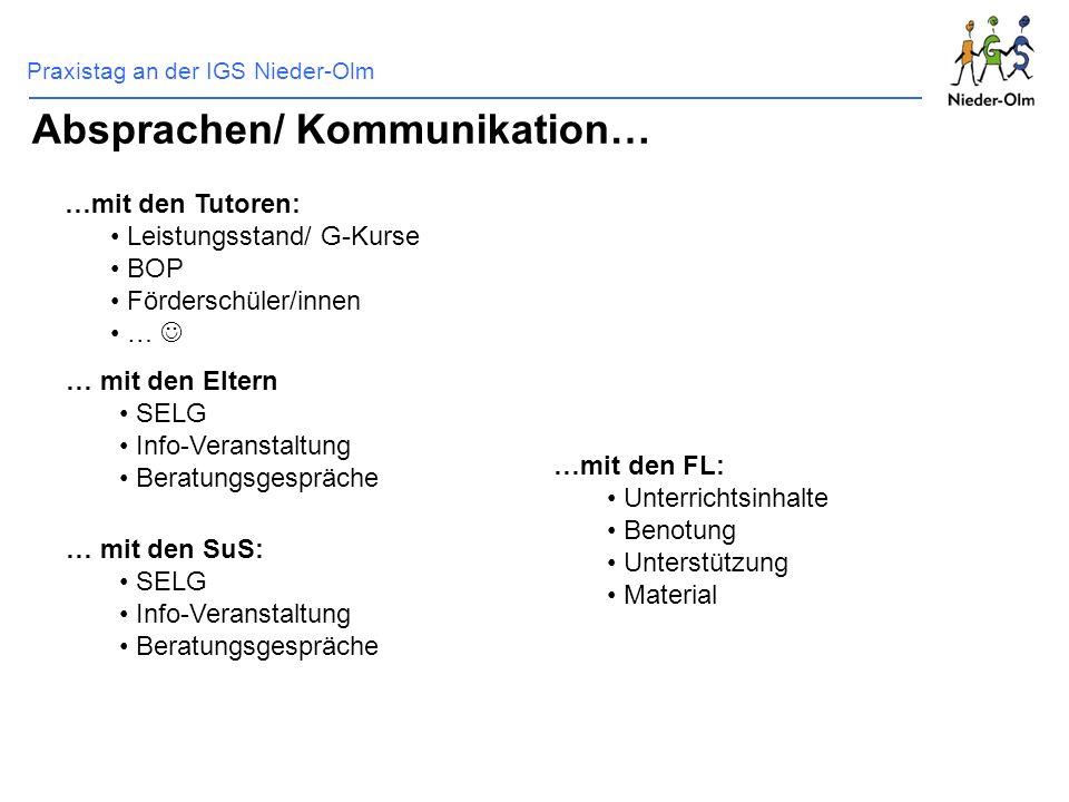 Praxistag an der IGS Nieder-Olm Absprachen/ Kommunikation… …mit den Tutoren: Leistungsstand/ G-Kurse BOP Förderschüler/innen … … mit den Eltern SELG I