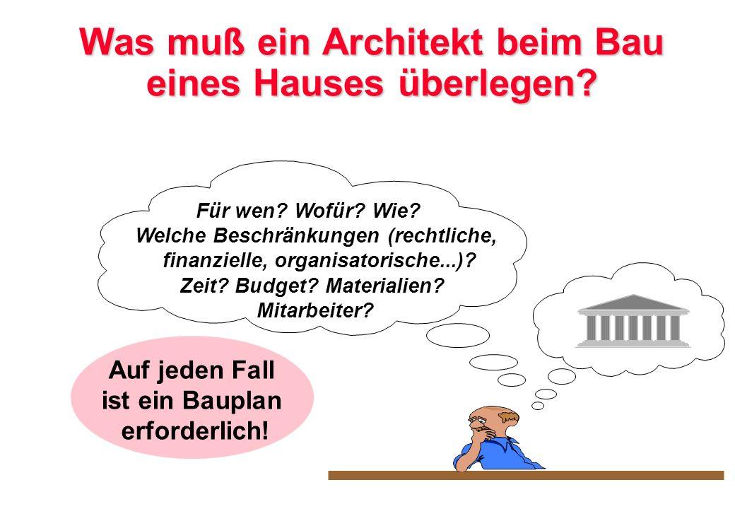 Was muß ein Architekt beim Bau eines Hauses überlegen? Für wen? Wofür? Wie? Welche Beschränkungen (rechtliche, finanzielle, organisatorische...)? Zeit