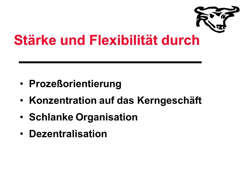 Stärke und Flexibilität durch Prozeßorientierung Konzentration auf das Kerngeschäft Schlanke Organisation Dezentralisation