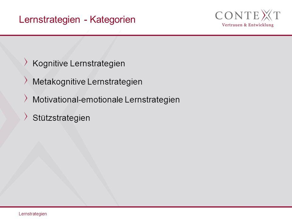 Lernstrategien Kognitive Lernstrategien Metakognitive Lernstrategien Motivational-emotionale Lernstrategien Stützstrategien Lernstrategien - Kategorien