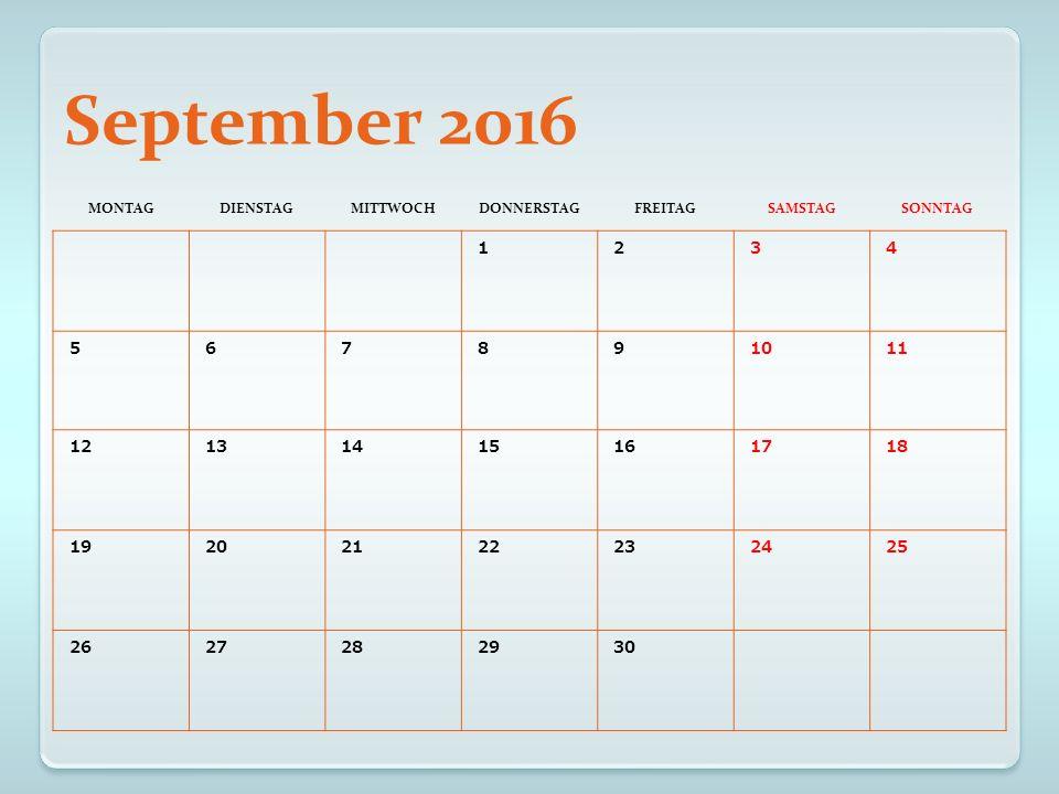 Oktober 2016 MONTAGDIENSTAGMITTWOCHDONNERSTAGFREITAGSAMSTAGSONNTAG 12 3 Tag der Dt.
