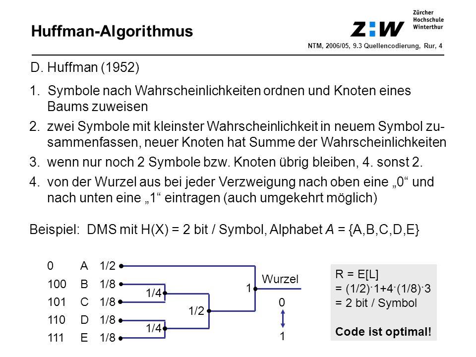 Huffman-Algorithmus 1.