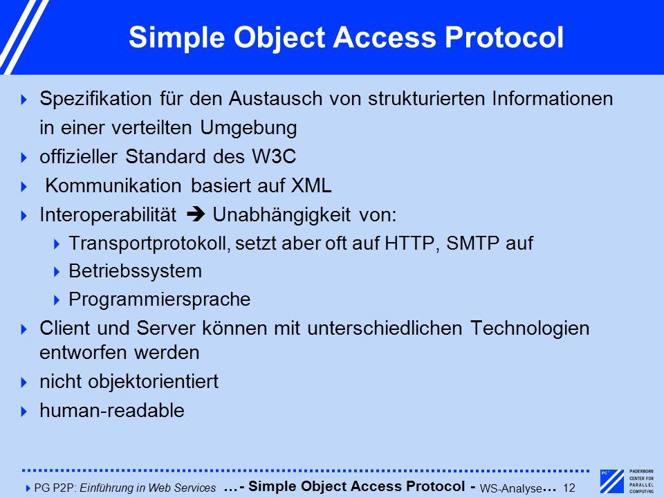 4PG P2P: Einführung in Web Services12 Simple Object Access Protocol  Spezifikation für den Austausch von strukturierten Informationen in einer verteilten Umgebung  offizieller Standard des W3C  Kommunikation basiert auf XML  Interoperabilität  Unabhängigkeit von:  Transportprotokoll, setzt aber oft auf HTTP, SMTP auf  Betriebssystem  Programmiersprache  Client und Server können mit unterschiedlichen Technologien entworfen werden  nicht objektorientiert  human-readable - Simple Object Access Protocol - WS-Analyse ……