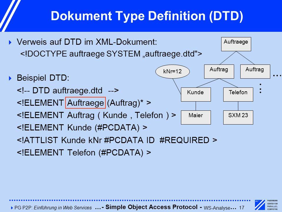 4PG P2P: Einführung in Web Services17 Dokument Type Definition (DTD)  Verweis auf DTD im XML-Dokument:  Beispiel DTD: Auftraege Auftrag kNr=12 KundeTelefon SXM 23Maier Auftrag - Simple Object Access Protocol - WS-Analyse ……
