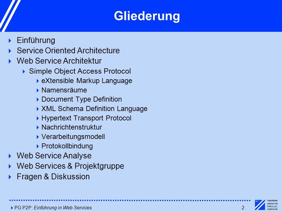 4PG P2P: Einführung in Web Services33 Web-Services & Projektgruppe  PG Titel: Peer2Peer Suche nach Web-Services   Bezug zum Seminarthema naheliegend  Fragestellungen:  Welche Web-Services werden gesucht.