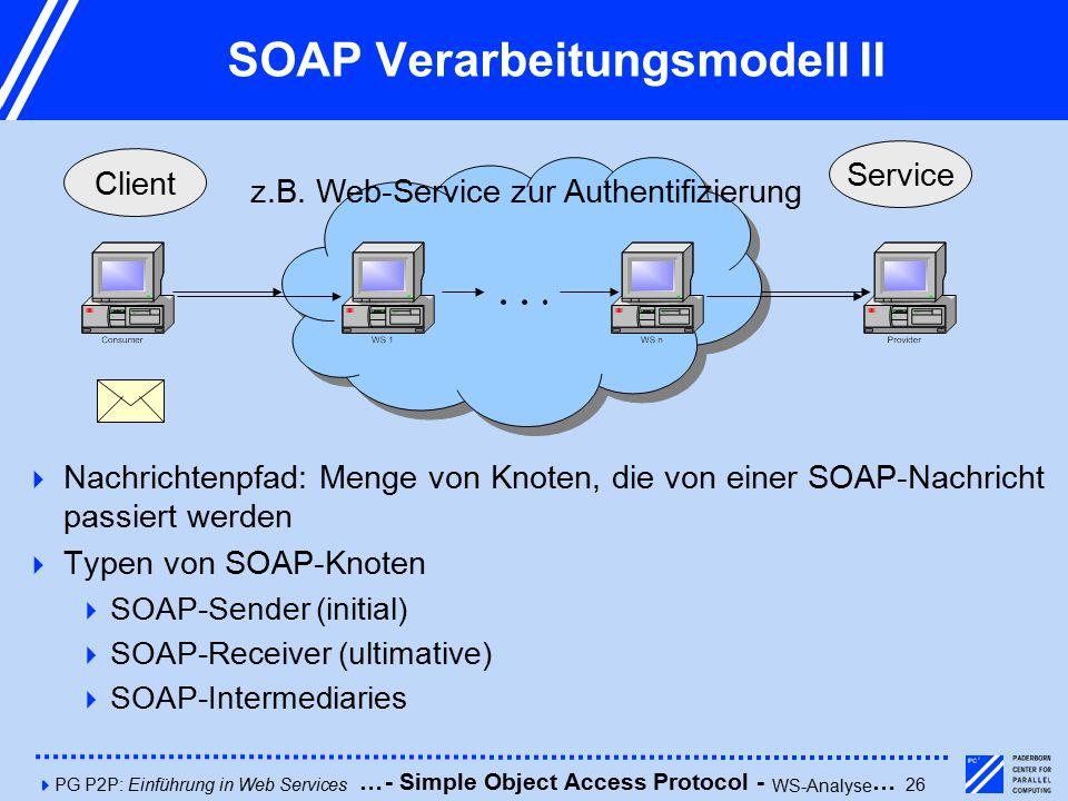 4PG P2P: Einführung in Web Services26 SOAP Verarbeitungsmodell II Client Service  Nachrichtenpfad: Menge von Knoten, die von einer SOAP-Nachricht passiert werden  Typen von SOAP-Knoten  SOAP-Sender (initial)  SOAP-Receiver (ultimative)  SOAP-Intermediaries z.B.