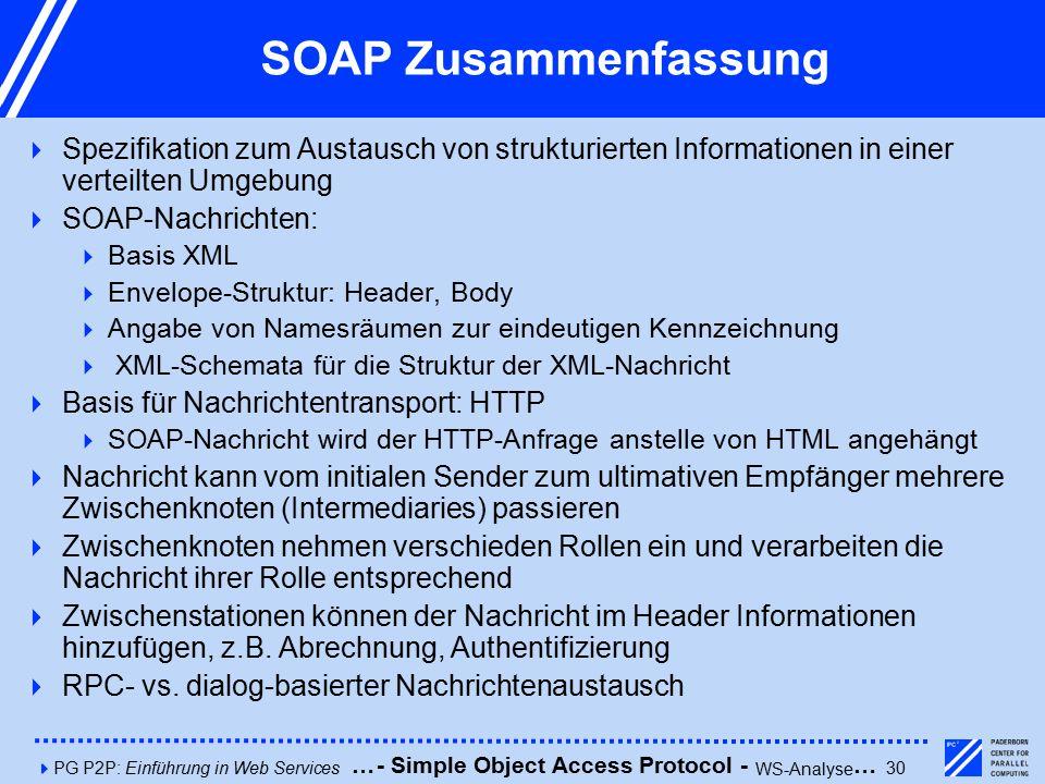 4PG P2P: Einführung in Web Services30 SOAP Zusammenfassung  Spezifikation zum Austausch von strukturierten Informationen in einer verteilten Umgebung  SOAP-Nachrichten:  Basis XML  Envelope-Struktur: Header, Body  Angabe von Namesräumen zur eindeutigen Kennzeichnung  XML-Schemata für die Struktur der XML-Nachricht  Basis für Nachrichtentransport: HTTP  SOAP-Nachricht wird der HTTP-Anfrage anstelle von HTML angehängt  Nachricht kann vom initialen Sender zum ultimativen Empfänger mehrere Zwischenknoten (Intermediaries) passieren  Zwischenknoten nehmen verschieden Rollen ein und verarbeiten die Nachricht ihrer Rolle entsprechend  Zwischenstationen können der Nachricht im Header Informationen hinzufügen, z.B.