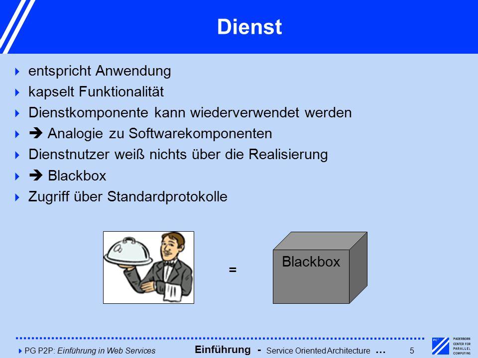 4PG P2P: Einführung in Web Services5 Dienst  entspricht Anwendung  kapselt Funktionalität  Dienstkomponente kann wiederverwendet werden   Analogie zu Softwarekomponenten  Dienstnutzer weiß nichts über die Realisierung   Blackbox  Zugriff über Standardprotokolle Blackbox = Einführung - Service Oriented Architecture …