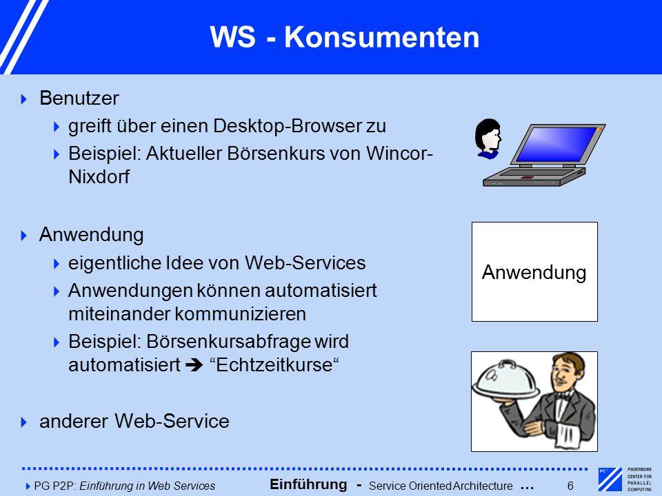 4PG P2P: Einführung in Web Services6 WS - Konsumenten  Benutzer  greift über einen Desktop-Browser zu  Beispiel: Aktueller Börsenkurs von Wincor- Nixdorf  Anwendung  eigentliche Idee von Web-Services  Anwendungen können automatisiert miteinander kommunizieren  Beispiel: Börsenkursabfrage wird automatisiert  Echtzeitkurse  anderer Web-Service Anwendung Einführung - Service Oriented Architecture …