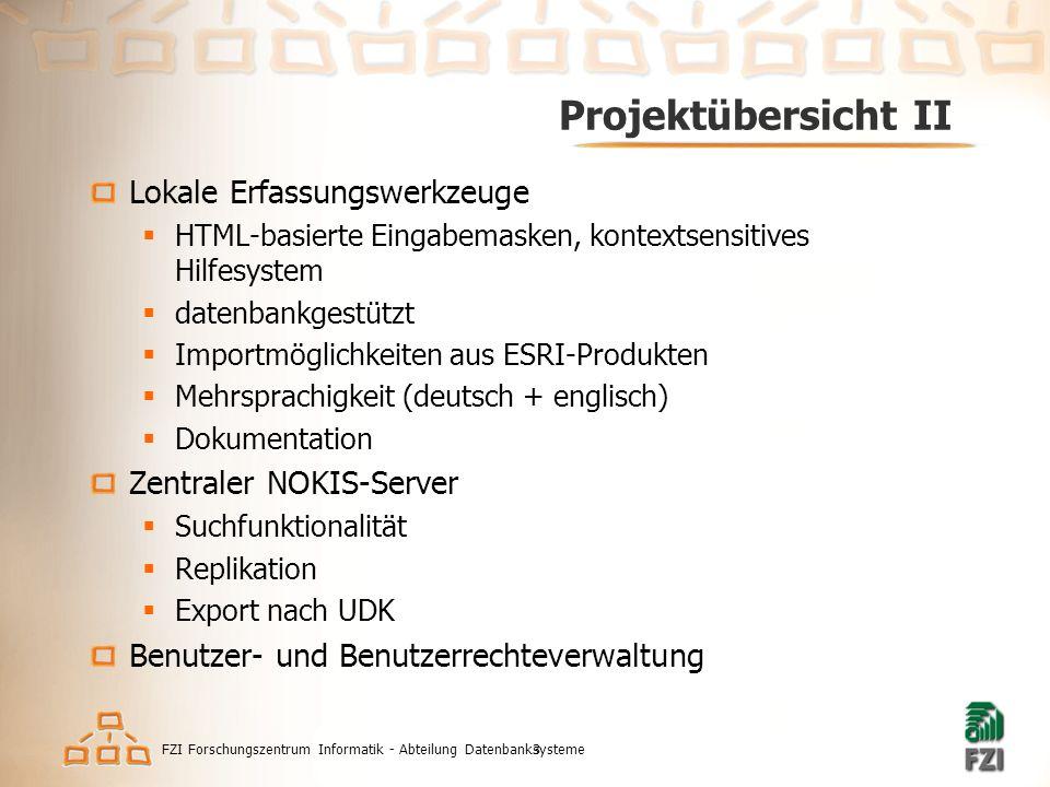 FZI Forschungszentrum Informatik - Abteilung Datenbanksysteme3 Projektübersicht II Lokale Erfassungswerkzeuge  HTML-basierte Eingabemasken, kontextse