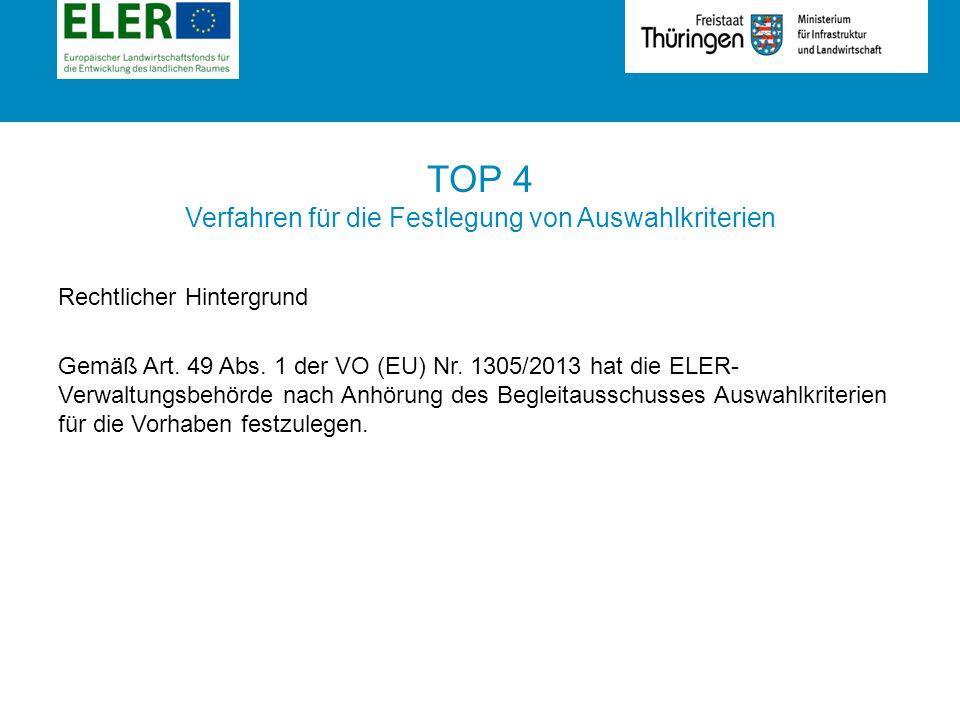 Rubrik TOP 4 Verfahren für die Festlegung von Auswahlkriterien Rechtlicher Hintergrund Gemäß Art.