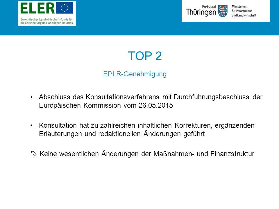 Rubrik TOP 2 EPLR-Genehmigung Abschluss des Konsultationsverfahrens mit Durchführungsbeschluss der Europäischen Kommission vom 26.05.2015 Konsultation hat zu zahlreichen inhaltlichen Korrekturen, ergänzenden Erläuterungen und redaktionellen Änderungen geführt  Keine wesentlichen Änderungen der Maßnahmen- und Finanzstruktur
