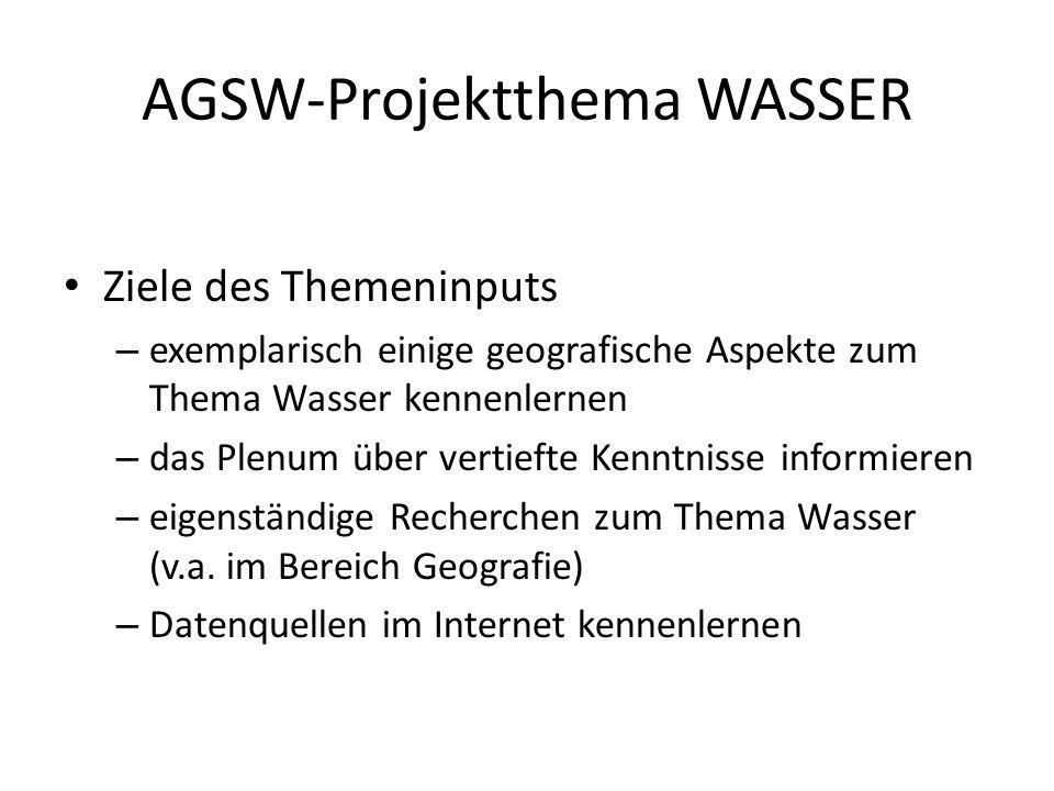 AGSW-Projektthema WASSER Ziele des Themeninputs – exemplarisch einige geografische Aspekte zum Thema Wasser kennenlernen – das Plenum über vertiefte Kenntnisse informieren – eigenständige Recherchen zum Thema Wasser (v.a.