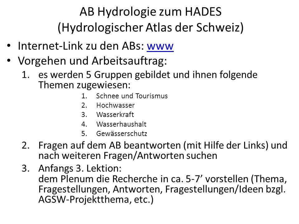 AB Hydrologie zum HADES (Hydrologischer Atlas der Schweiz) Internet-Link zu den ABs: wwwwww Vorgehen und Arbeitsauftrag: 1.es werden 5 Gruppen gebildet und ihnen folgende Themen zugewiesen: 1.Schnee und Tourismus 2.Hochwasser 3.Wasserkraft 4.Wasserhaushalt 5.Gewässerschutz 2.Fragen auf dem AB beantworten (mit Hilfe der Links) und nach weiteren Fragen/Antworten suchen 3.Anfangs 3.