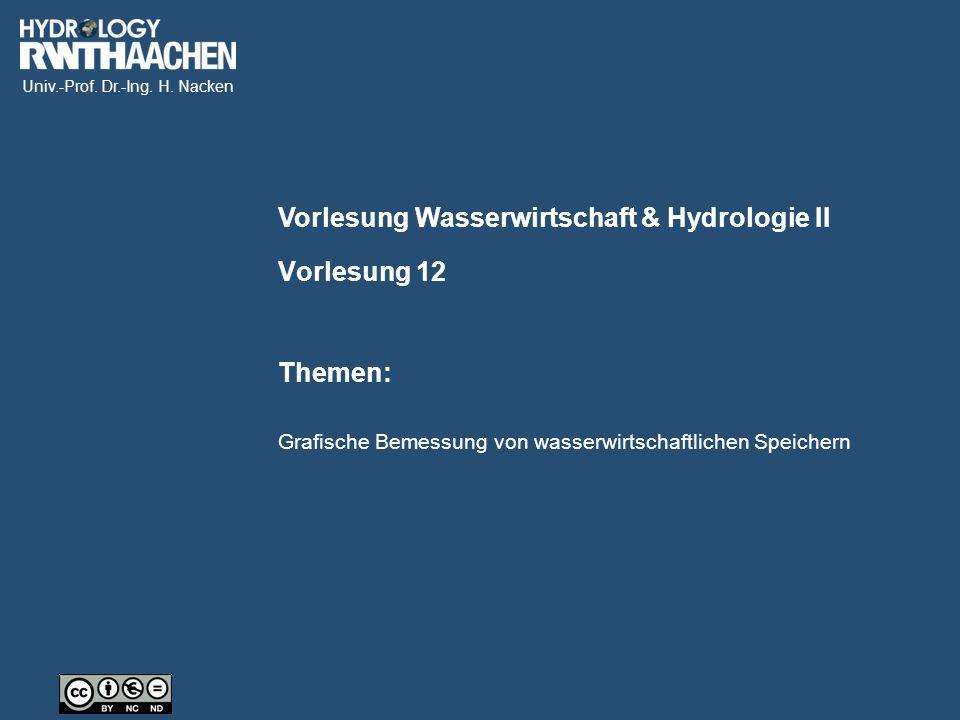 Univ.-Prof. Dr.-Ing. H. Nacken Vorlesung Wasserwirtschaft & Hydrologie II Themen: Vorlesung 12 Grafische Bemessung von wasserwirtschaftlichen Speicher