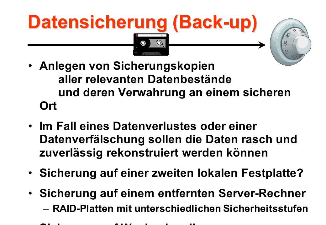 Datensicherung (Back-up) Anlegen von Sicherungskopien aller relevanten Datenbestände und deren Verwahrung an einem sicheren Ort Im Fall eines Datenverlustes oder einer Datenverfälschung sollen die Daten rasch und zuverlässig rekonstruiert werden können Sicherung auf einer zweiten lokalen Festplatte.