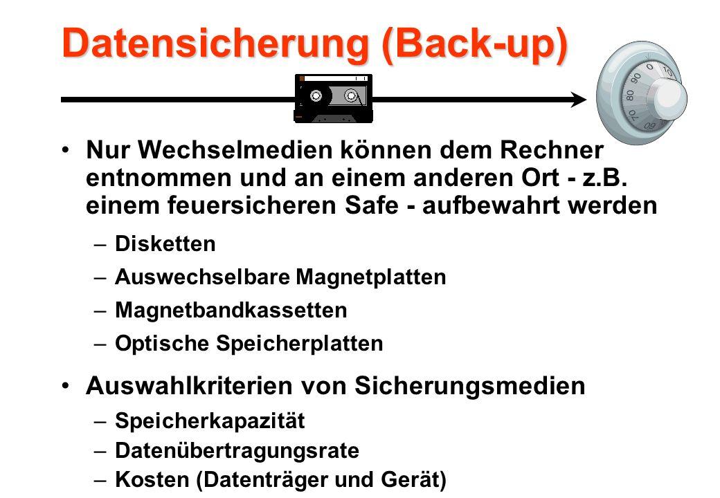 Datensicherung (Back-up) Nur Wechselmedien können dem Rechner entnommen und an einem anderen Ort - z.B.