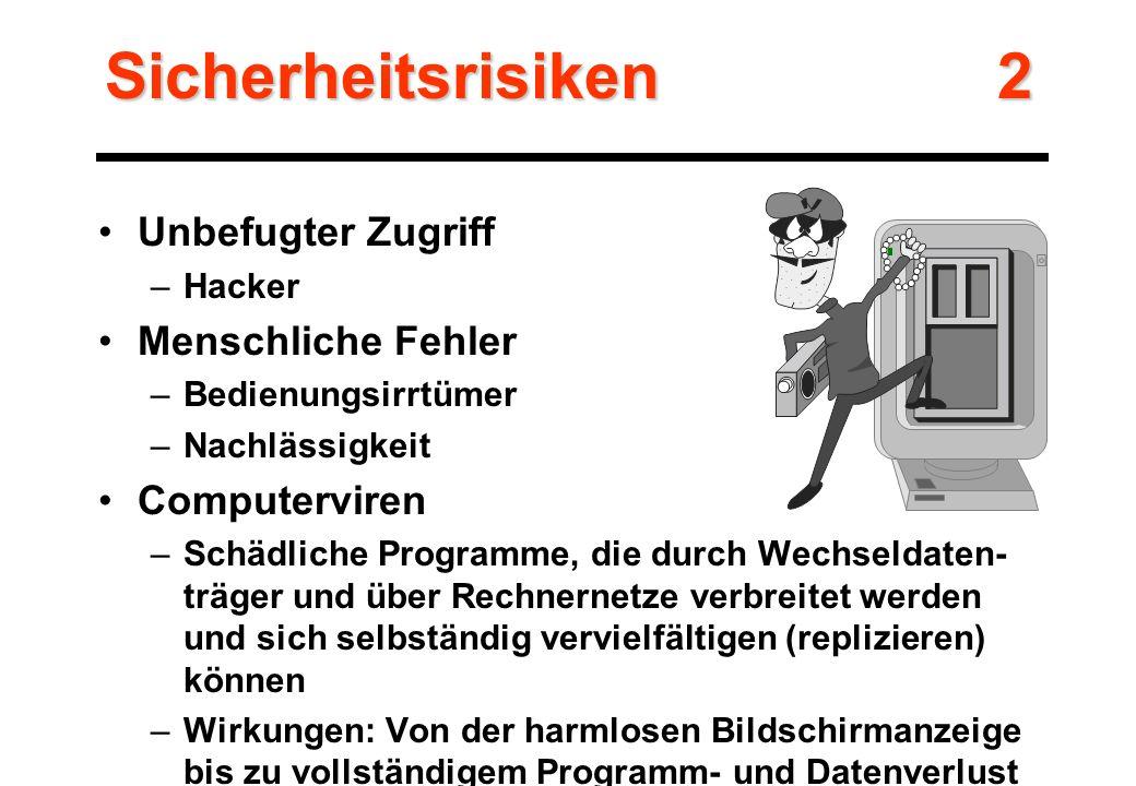 Unbefugter Zugriff –Hacker Menschliche Fehler –Bedienungsirrtümer –Nachlässigkeit Computerviren –Schädliche Programme, die durch Wechseldaten- träger und über Rechnernetze verbreitet werden und sich selbständig vervielfältigen (replizieren) können –Wirkungen: Von der harmlosen Bildschirmanzeige bis zu vollständigem Programm- und Datenverlust Sicherheitsrisiken 2