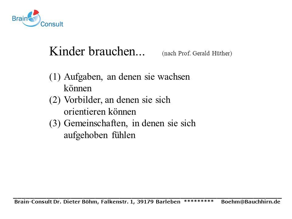 Kinder brauchen... (nach Prof. Gerald Hüther) (1)Aufgaben, an denen sie wachsen können (2)Vorbilder, an denen sie sich orientieren können (3)Gemeinsch