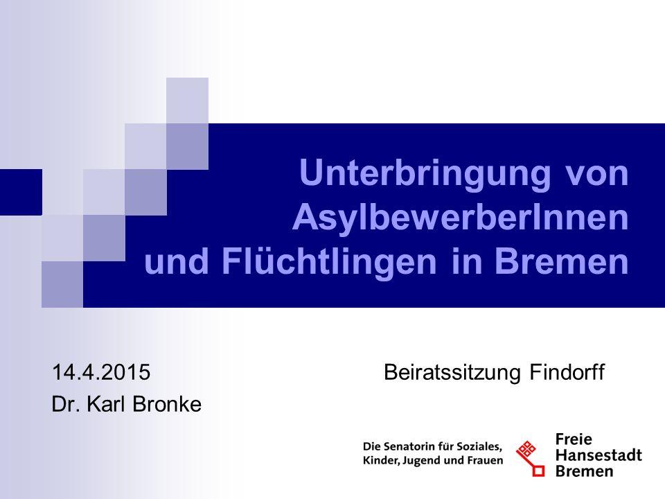 Unterbringung von AsylbewerberInnen und Flüchtlingen in Bremen 14.4.2015Beiratssitzung Findorff Dr.