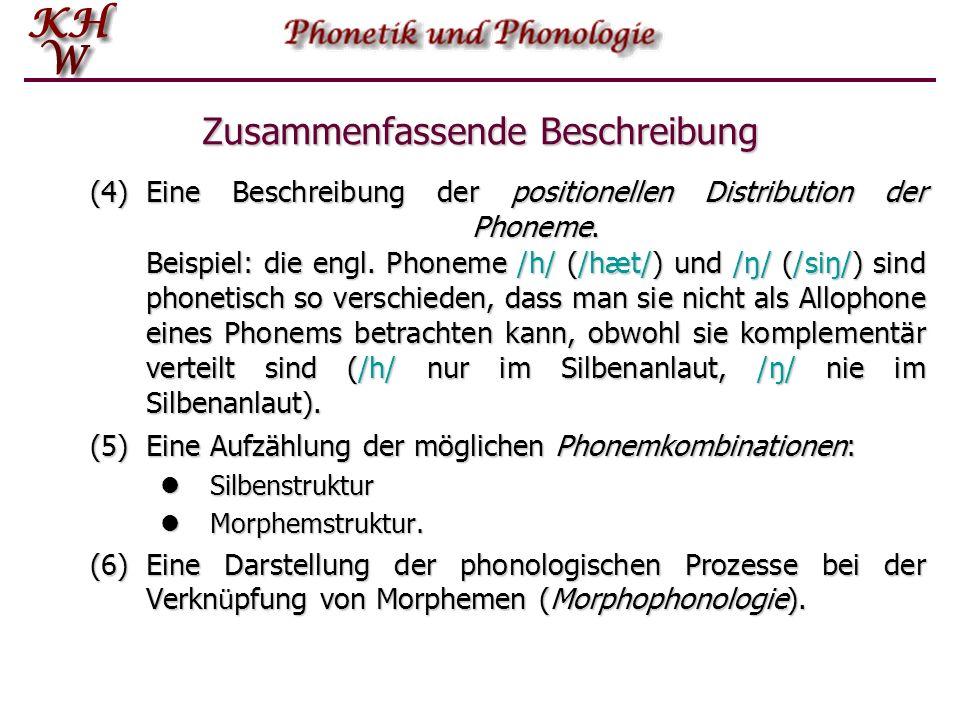 Zusammenfassende Beschreibung (4)Eine Beschreibung der positionellen Distribution der Phoneme.
