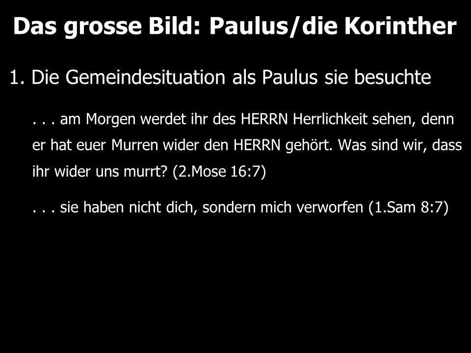 Das grosse Bild: Paulus/die Korinther 1. Die Gemeindesituation als Paulus sie besuchte... am Morgen werdet ihr des HERRN Herrlichkeit sehen, denn er h
