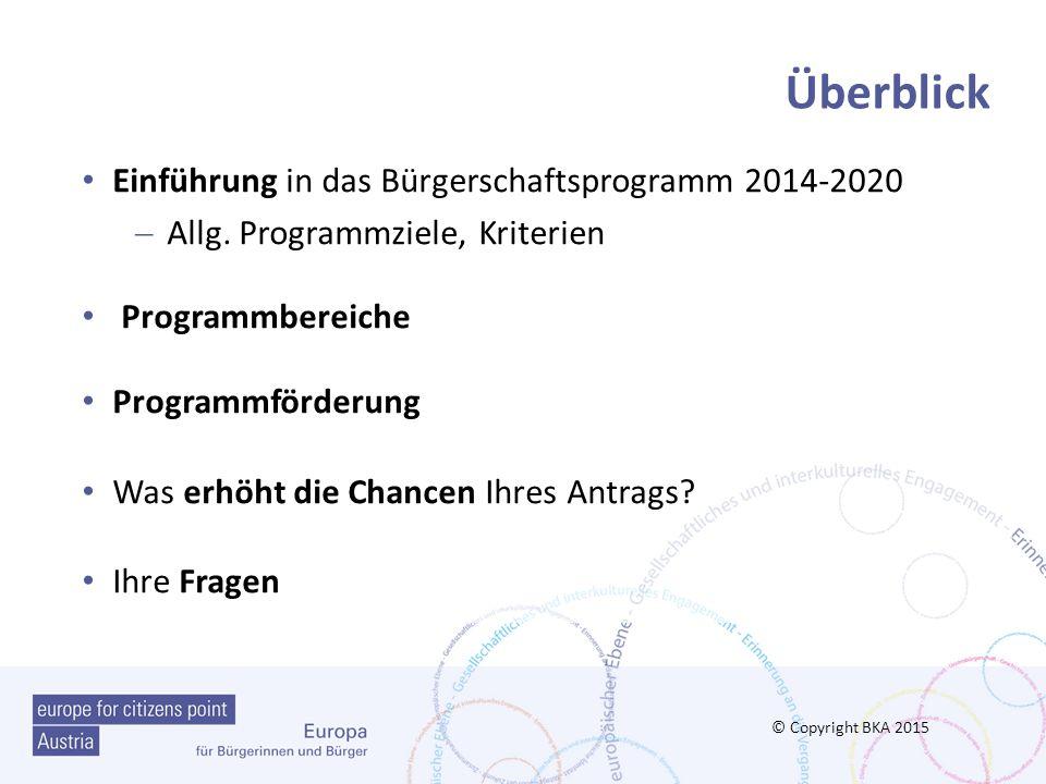 Das Bürgerschaftsprogramm 2014-2020 Ziele, Struktur und prioritäre Themen © Copyright BKA 2015