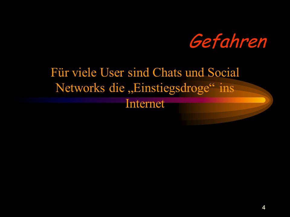 """4 Gefahren Für viele User sind Chats und Social Networks die """"Einstiegsdroge"""" ins Internet"""