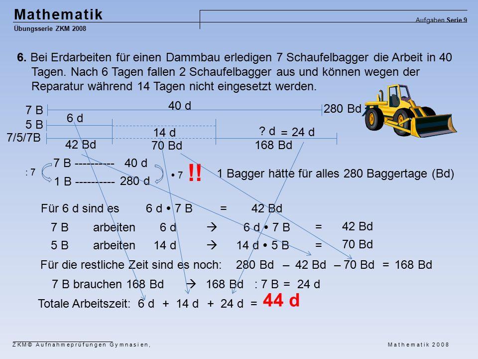 Mathematik Übungsserie ZKM 2008 Aufgaben Serie 9 ZKM© Aufnahmeprüfungen Gymnasien, Mathematik 2008 6.