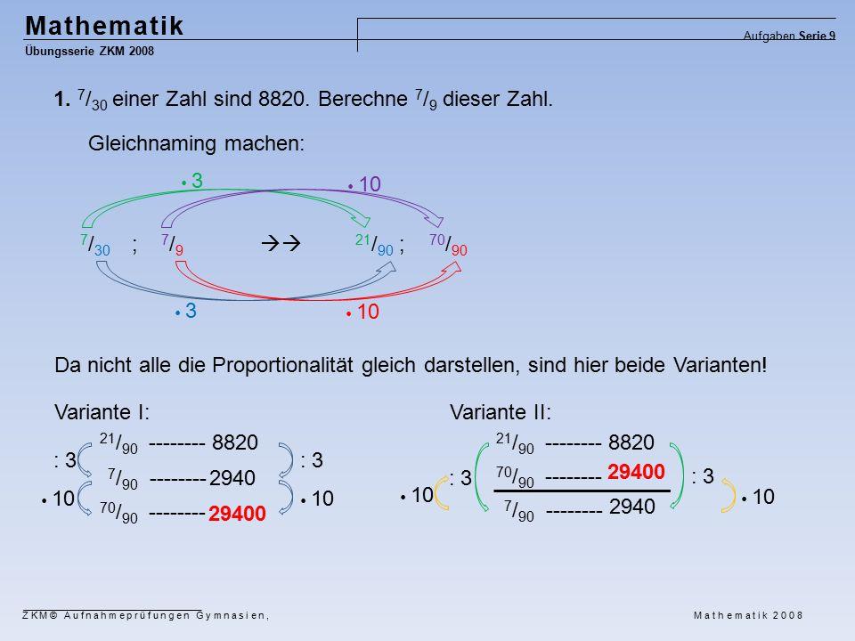Mathematik Übungsserie ZKM 2008 Aufgaben Serie 9 ZKM© Aufnahmeprüfungen Gymnasien, Mathematik 2008 1.