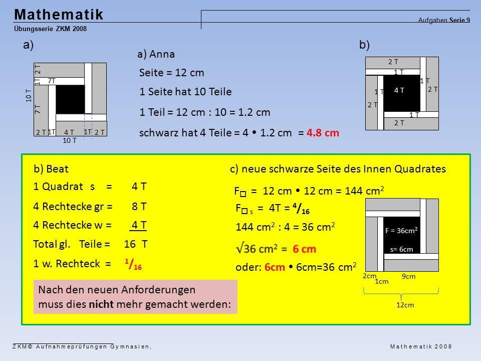 Mathematik Übungsserie ZKM 2008 Aufgaben Serie 9 ZKM© Aufnahmeprüfungen Gymnasien, Mathematik 2008 1 Quadrat s = 4 T 4 Rechtecke gr = 8 T 4 Rechtecke w = 4 T Total gl.