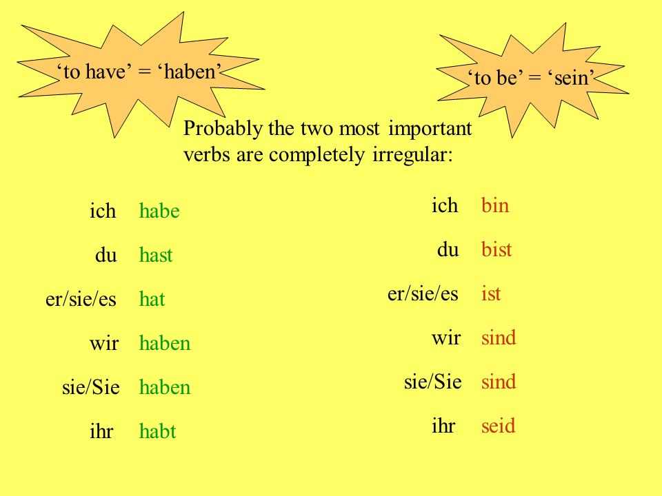 ich wir/Sie/sie er/sie/es du kein Problem - immer 'e' kein Problem - immer 'en' Some verbs change their vowels = essenIch esse Du isstEr/sie/es isst Wir essen lesengeben sprechensehen