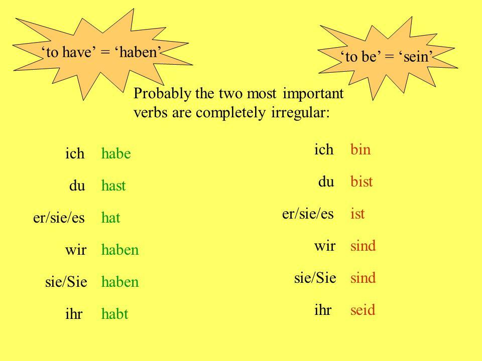 ich wir/Sie/sie er/sie/es du kein Problem - immer 'e' kein Problem - immer 'en' Some verbs change their vowels = essenIch esse Du isstEr/sie/es isst Wir essen lesengeben sprechensehen