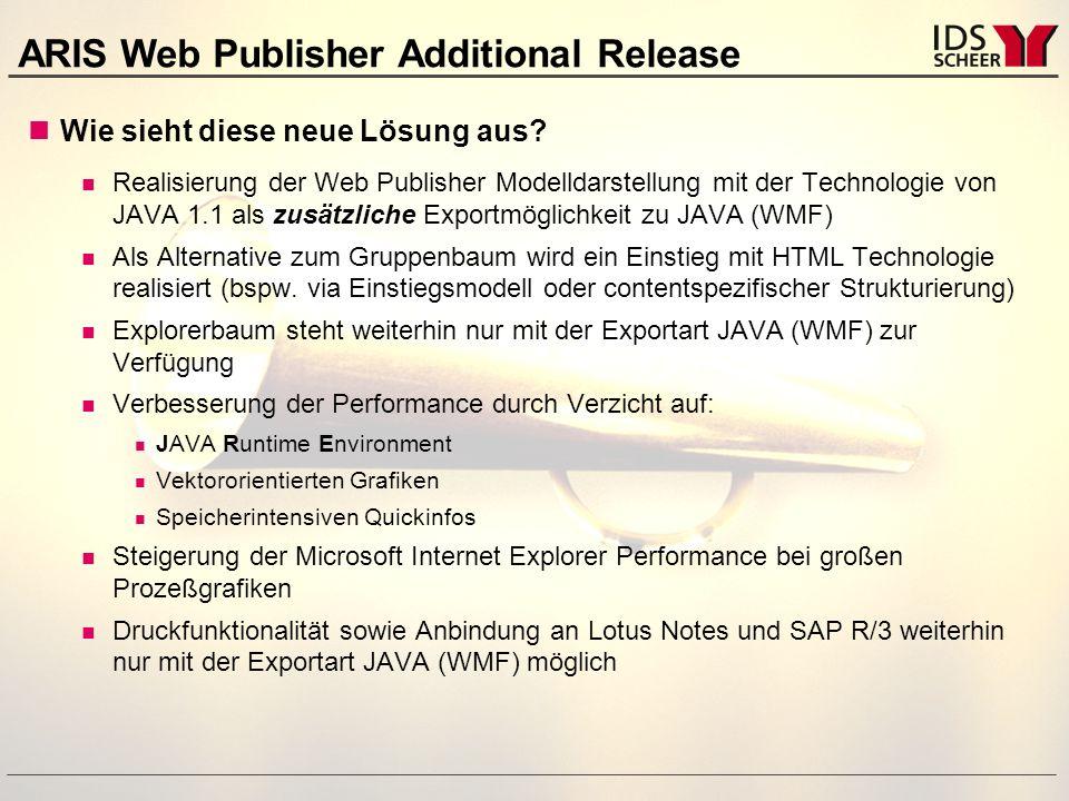ARIS Web Publisher Additional Release Funktionalitäten Bekannte Navigationsstrukturen via Kontextmenü bleiben erhalten zu hinterlegten Modellen zu Objektinformationen zu externen Dokumenten zu eingebetteten (OLE) Dokumenten Skalierung der Modellgrafik Abbildung über definierbare Skalierungsstufen Einstieg HTML-Technologie mit Contentspezifischer Strukturierung Durch VisualBasicSkript-Integration für individuelle Betrachtungen realisierbar  Individuelle Anpassungen möglich
