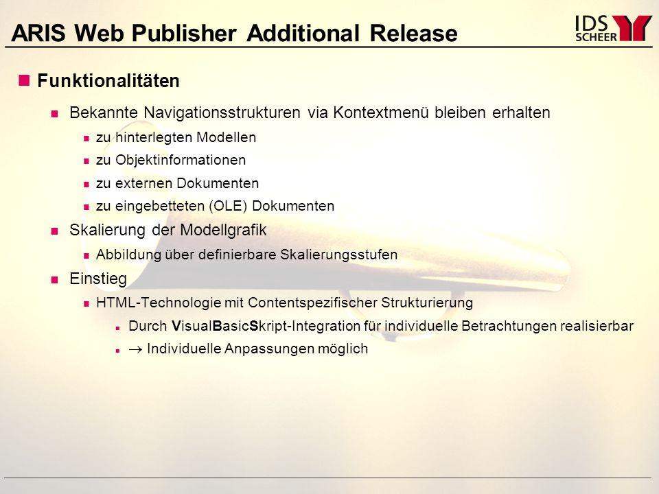ARIS Web Publisher Additional Release Technische Voraussetzungen zur Darstellung Web Browser: Microsoft Internet Explorer ab Version 4.01 + SP1 oder höher (IE 5.0 wird nicht empfohlen) Netscape Navigator ab Version 4.01 oder höher Web Server für neue Exportmöglichkeit erforderlich Verfügbarkeit Februar 2001