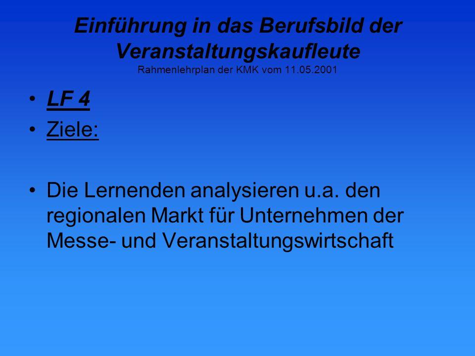 Einführung in das Berufsbild der Veranstaltungskaufleute Rahmenlehrplan der KMK vom 11.05.2001 LF 4 Ziele: Die Lernenden analysieren u.a.