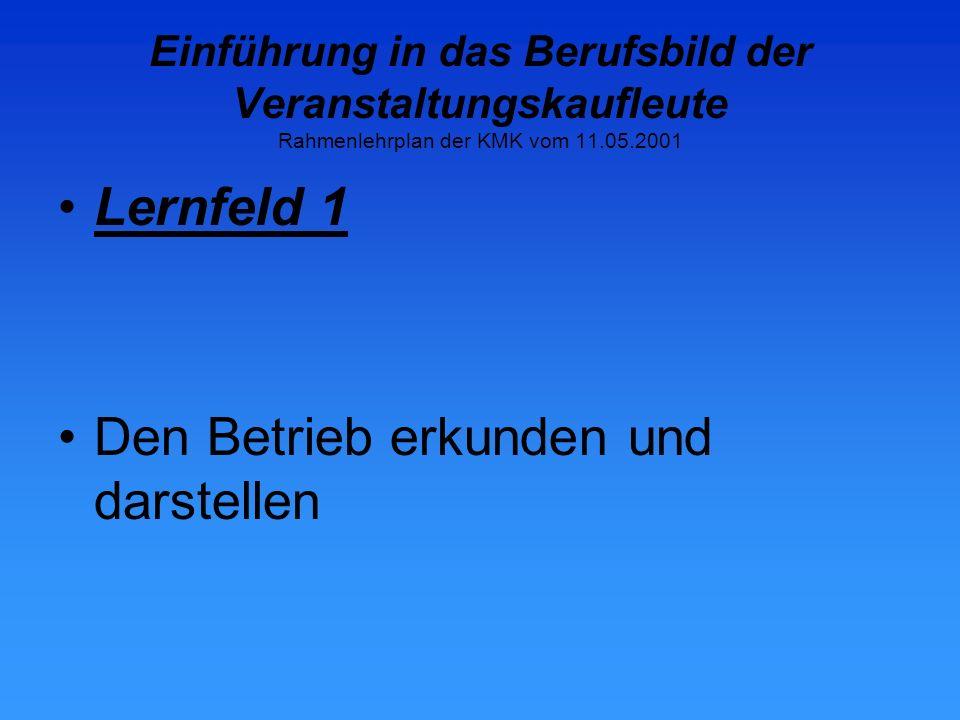 Einführung in das Berufsbild der Veranstaltungskaufleute Rahmenlehrplan der KMK vom 11.05.2001 Lernfeld 11 Personalwirtschaftliche Aufgaben wahrnehmen