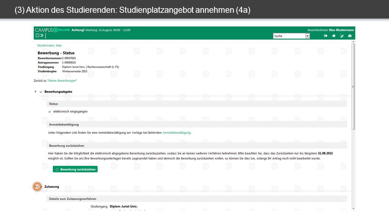 (3) Aktion des Studierenden: Studienplatzangebot annehmen (4a) 1
