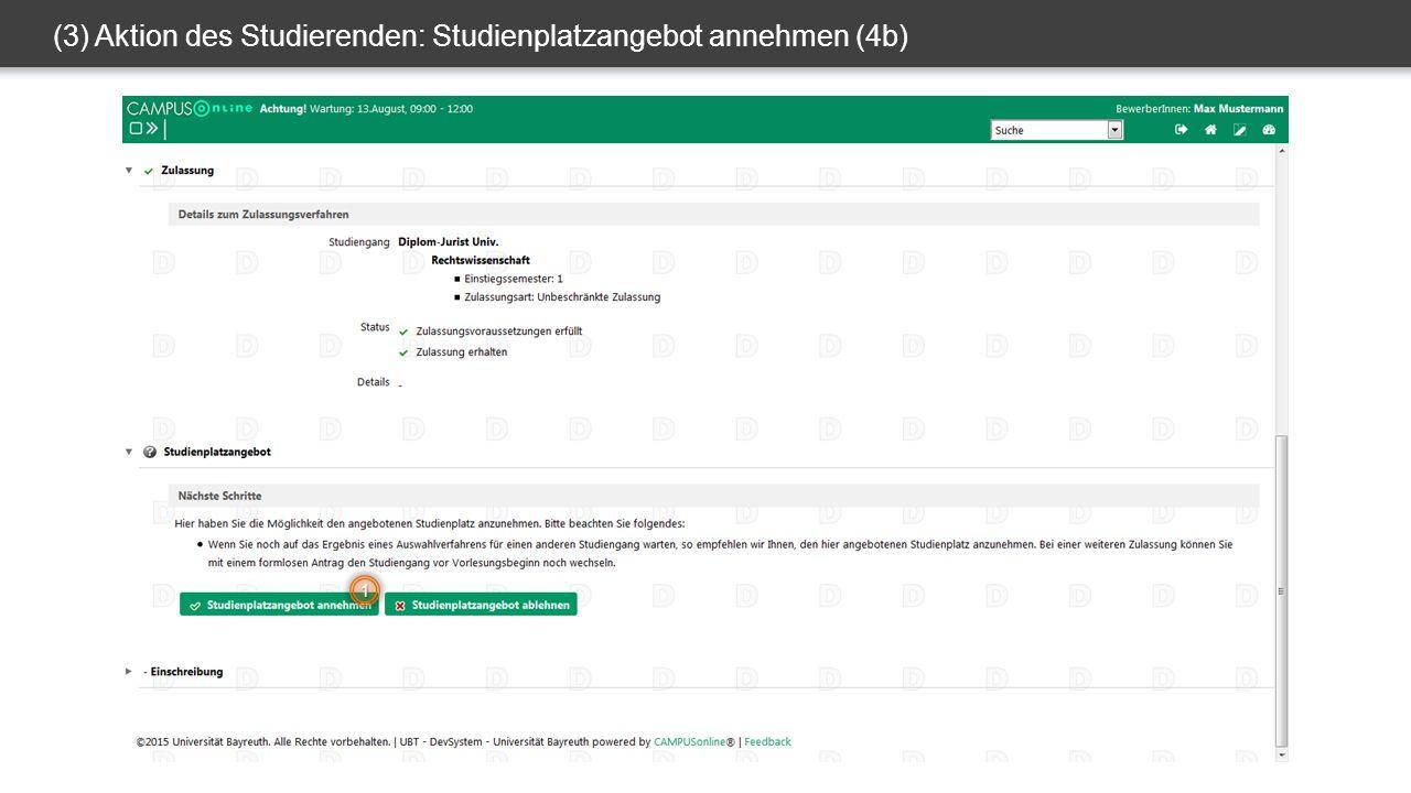 (3) Aktion des Studierenden: Studienplatzangebot annehmen (4b) 1
