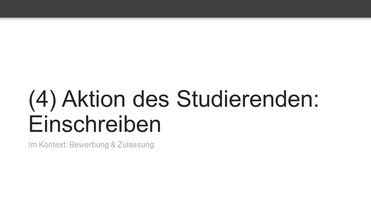 (4) Aktion des Studierenden: Einschreiben Im Kontext: Bewerbung & Zulassung