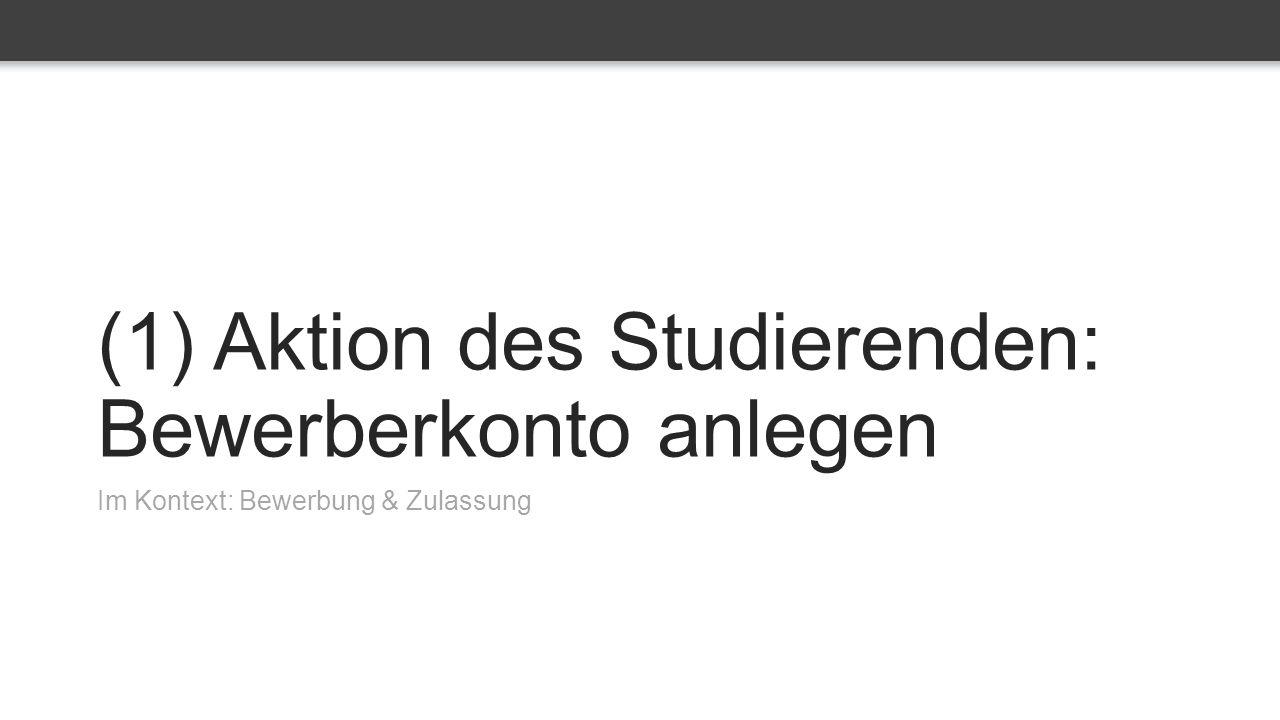 (1) Aktion des Studierenden: Bewerberkonto anlegen Im Kontext: Bewerbung & Zulassung