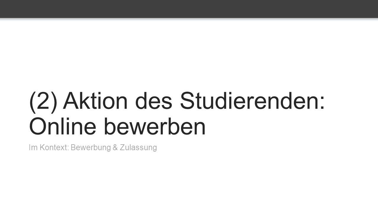 (2) Aktion des Studierenden: Online bewerben Im Kontext: Bewerbung & Zulassung