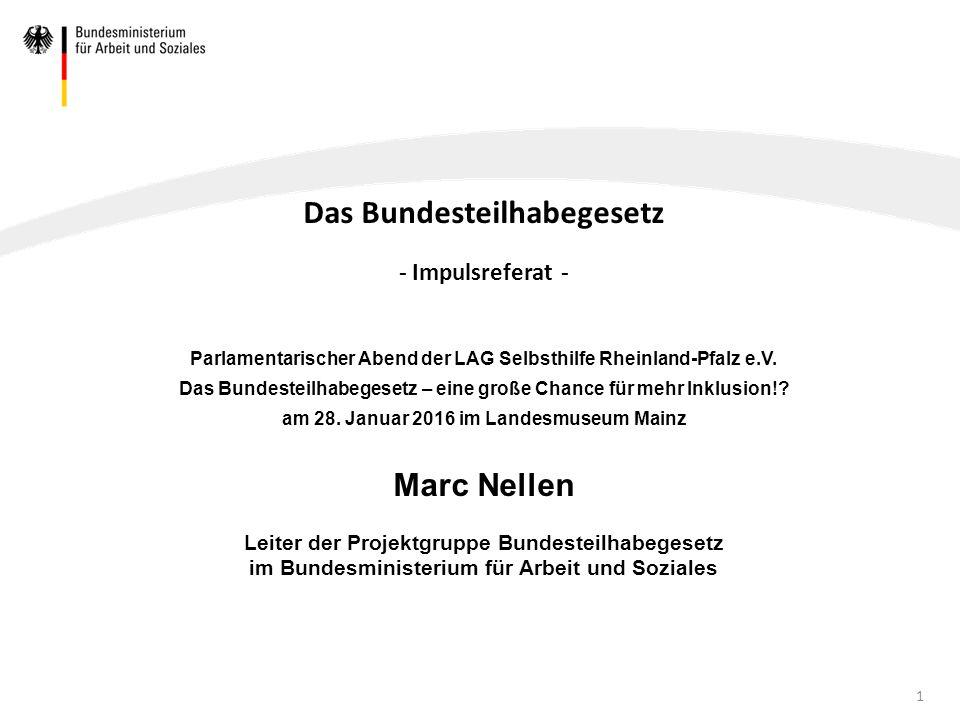 Inhaltsverzeichnis 1.Handlungsbedarfe 2.Koalitionsvertrag Exkurs: Bund-Länder-Finanzen 3.Arbeitsgruppe Bundesteilhabegesetz 4.Ziele des Bundesteilhabegesetzes 5.Struktur des Gesetzes 6.Mögliche Regelungsinhalte 7.Zeitplan 2