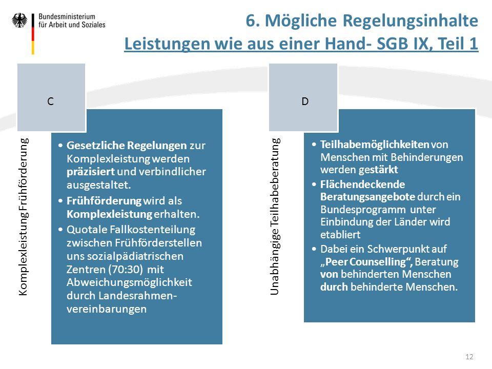 Komplexleistung Frühförderung Gesetzliche Regelungen zur Komplexleistung werden präzisiert und verbindlicher ausgestaltet. Frühförderung wird als Komp