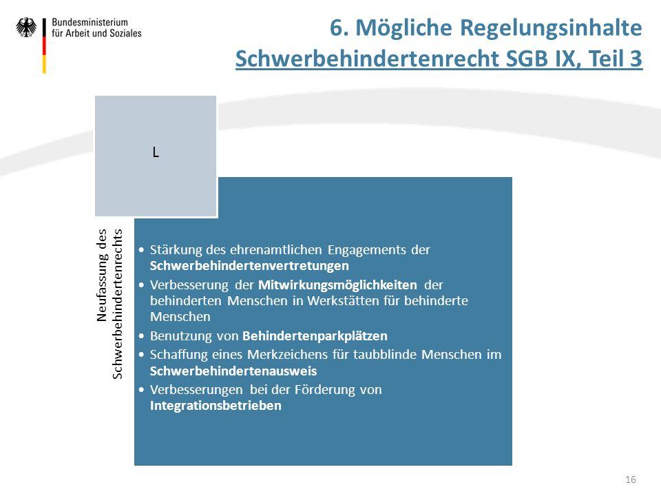 Neufassung des Schwerbehindertenrechts Stärkung des ehrenamtlichen Engagements der Schwerbehindertenvertretungen Verbesserung der Mitwirkungsmöglichke