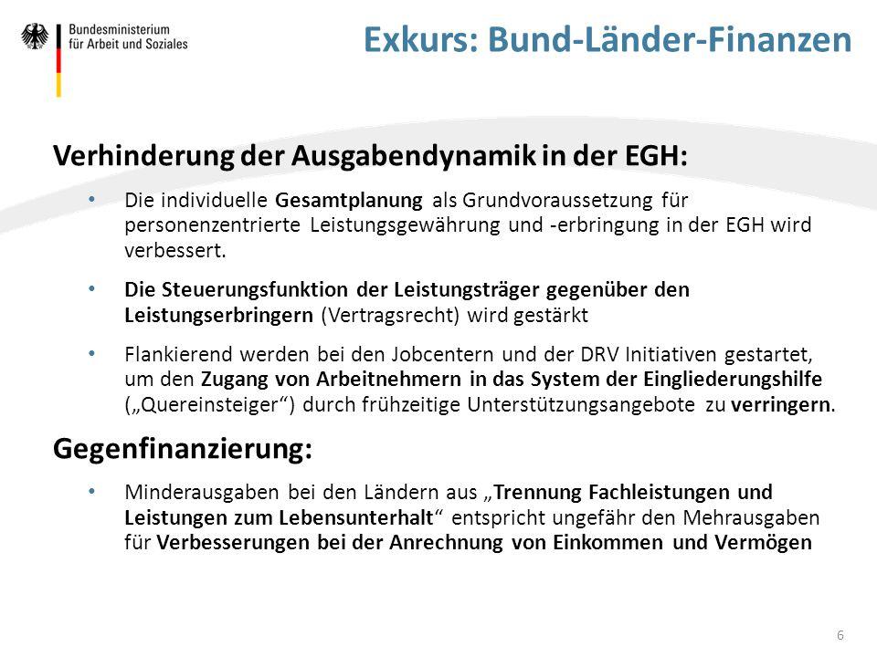 Exkurs: Bund-Länder-Finanzen Entlastung der Kommunen: BMAS tritt dafür ein, dass die im Koalitionsvertrag verabredeten 5 Mrd.