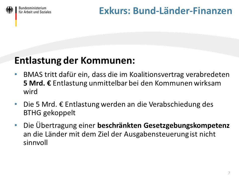 Exkurs: Bund-Länder-Finanzen Entlastung der Kommunen: BMAS tritt dafür ein, dass die im Koalitionsvertrag verabredeten 5 Mrd. € Entlastung unmittelbar
